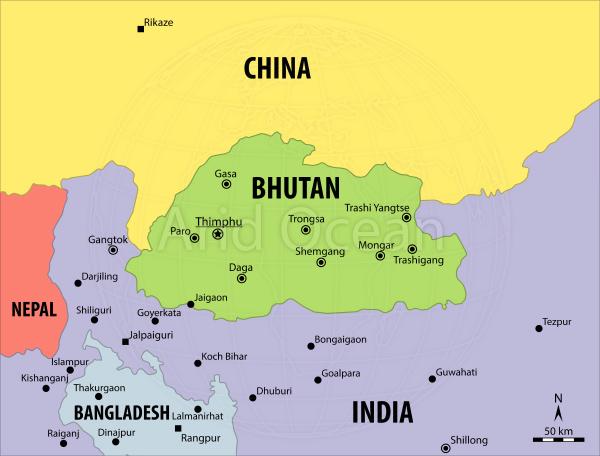 Bhutan, political map
