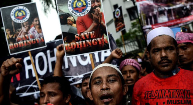 protest against the killings of Rohingya